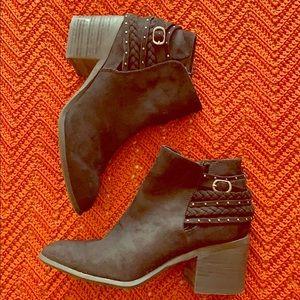 Zip-Up Black Heel Boots